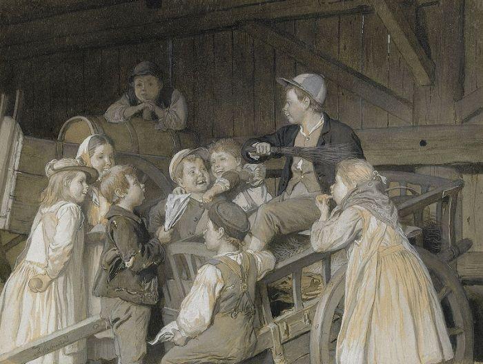 Август Мальмстрём (1829-1901). Швеция. Поющие дети в конюшне.