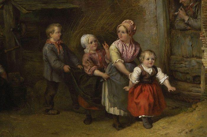 Фердинанд де Бракелер (1792-1883) . Бельгия. Игры детей перед домом.