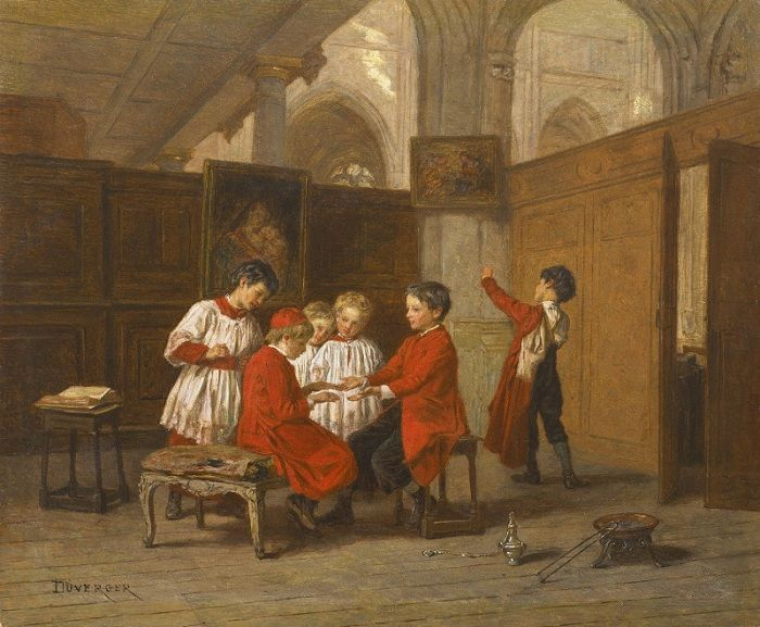 Theophile Emmanuel Duverger (1821-1886). Франция. Хор детей в ризнице.